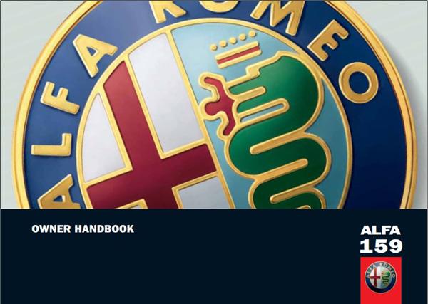 Alfa Romeo 159 Owner Handbook 2010
